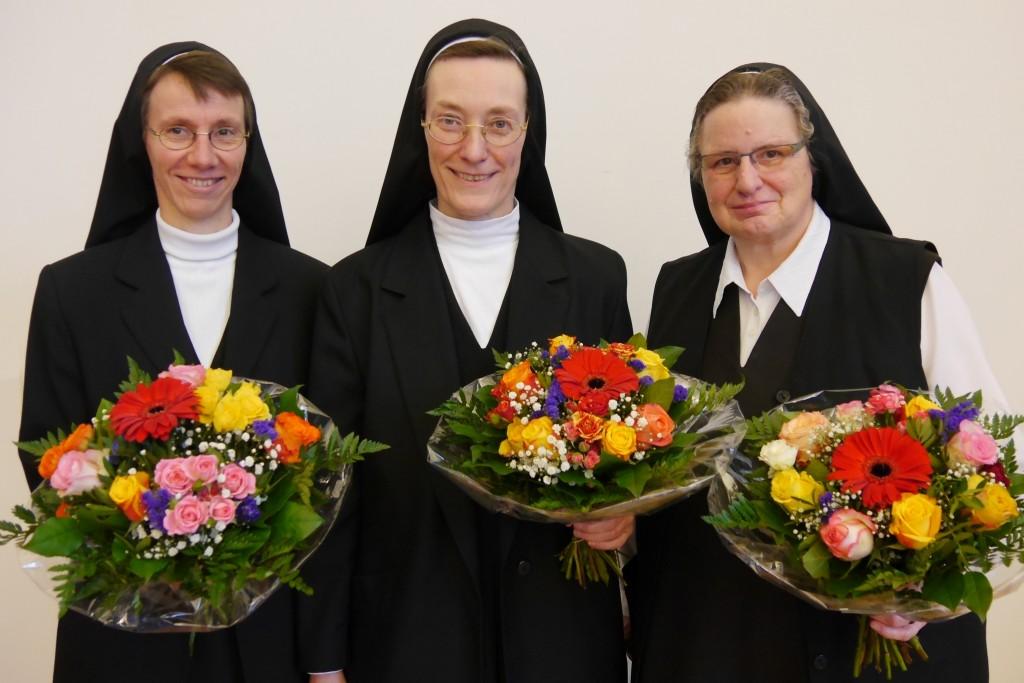 von links nach rechts: Sr. Justine Eberdorfer, Sr. Monika Schmidt, Sr. Maria Theresia Knippschild